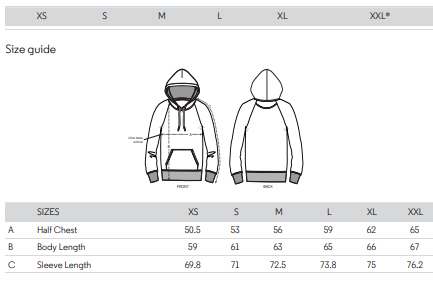 essentials hoodie sizes